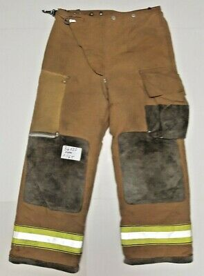 36x30 Brown Globe Firefighter Turnout Bunker Pants W Yellow Reflect Tape P1165