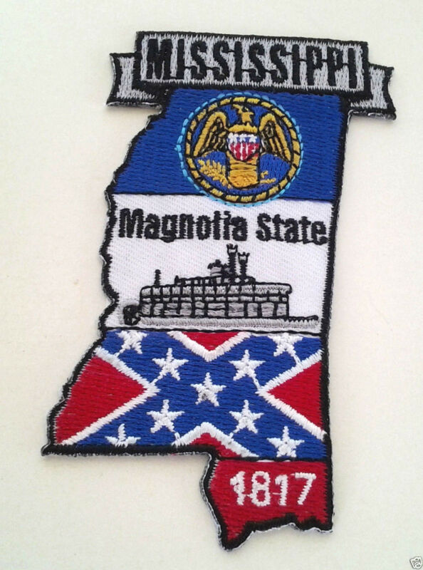 """MISSISSIPPI STATE MAP (3-3/4"""") Biker Patch PM6725 EE"""