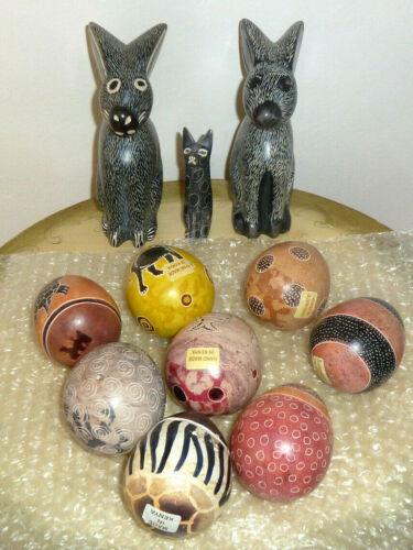 African Art Kenya Hand Carved Soapstone 8 Eggs Turtle Elephant, Rabbits, Cat Lot