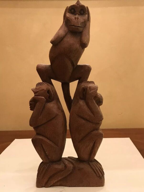 Hear, See Speak No Evil Carved Stacked Wood MONKEYS - Unique carving (#136-27)