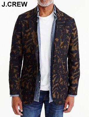 J.CREW Ludlow blazer linen leaf camo navy blue brown suit jacket slim 44L 44 L
