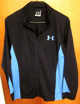 UNDER ARMOUR kids track jacket youth lrg blue athletic zipper-down fitness poly (Athletic Kids Track Jacket)