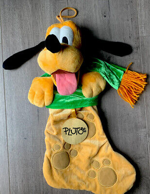 "Disney Parks Pluto Puppy Dog Christmas Stocking stuffed animal plush 17"" A+ Cond"