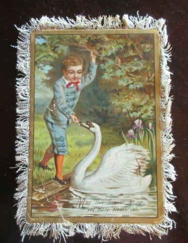 Antique UNSIGNED Christmas Card FRINGED-EDGE BOY FEEDING SWAN - M S MAC RITCHIE