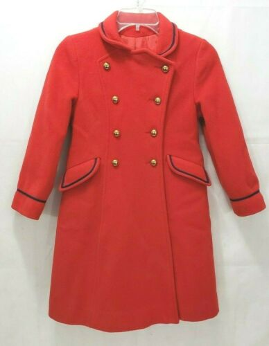 Rothschild Vintage Girls Dress Wool Coat - Size 8 Red Brass Buttons Victorian