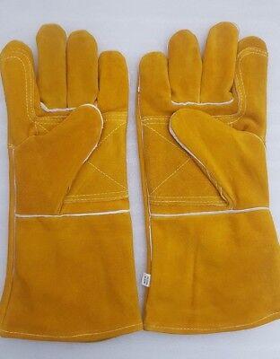 leather welders welding gauntlets protective gloves heat resistant 12 pair 14