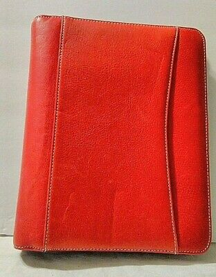 Franklin Covey Red Classic 7 Ring Plannerbinder Zippered Sim. Leather Size 8x10