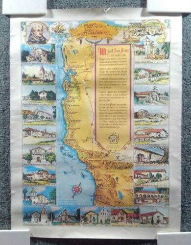 """1949 """"California Misisons"""" ORIGINAL MAP / POSTER - WILLIAM L. NEWMAN - 15.5x20.5"""