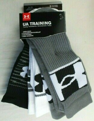 Under Armour Men's Crew Socks 3 Pack 8-12 L Black Grey White Training Heatgear