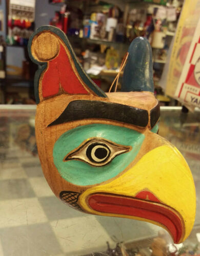 Wood Tribal Style Eagle Mask - hand carved and hand painted - Colorful wood mask