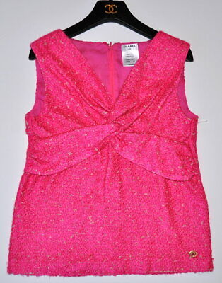 CHANEL 12A $3.2K PARIS BOMBAY HOT PINK JEWELED TWEED SWEATER VEST TOP,36,NEW - Hot Pink Tweed