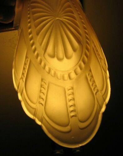 3 Antique Art Deco Ceiling Fixture Amber Ornate Batwing Slip Shades~Stock Part d