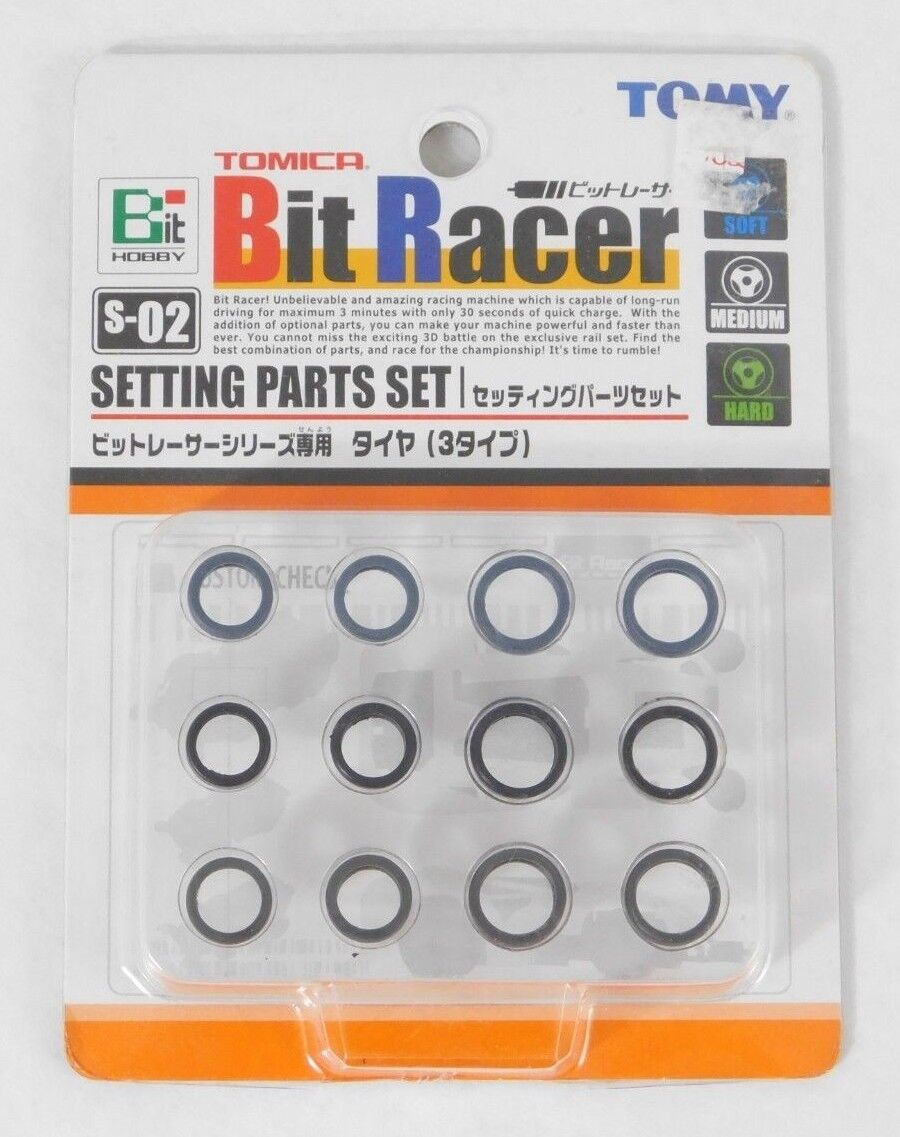 Brand New TOMY Tomica Bit Racer S-02 Setting Parts Set Car Tires Bit Hobby NIP - $5.98