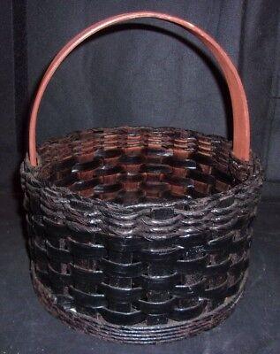 Handmade Mid Century Decor Collectible Basket w/Wood Bottom - Nice