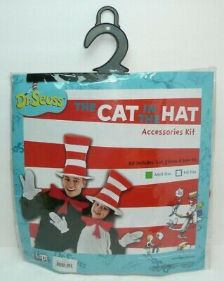 Dr Seuss Cat in the Hat Adult Accessories Kit Striped Hat Bow Tie Gloves Mittens