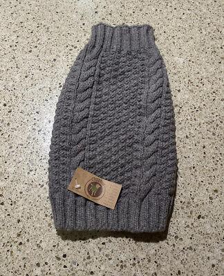 NEW! Chilly Dog Handmade 100% Organic Wool Dog Sweater Gray