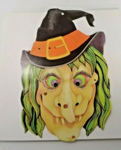 "Vintage Witch Head Face Die Cut Halloween Decor Eureka 13.5"" x 8 1/4"" Dbl Side"