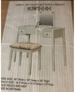 Makeup Vanity with Bench and Mirror