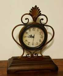 Decorative Wood & Metal Table Desk Mantle Clock Battery Operated 16.5 Tall