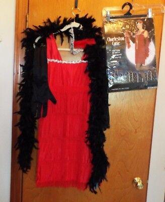 CHARLESTON CUTIE RED FLAPPER HALLOWEEN COSTUME W BONUS FEATHER BOA. SMALL 4-6