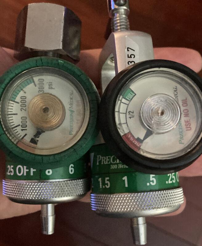 Precision Medical 2 X Oxygen Regulators 3000 Psi