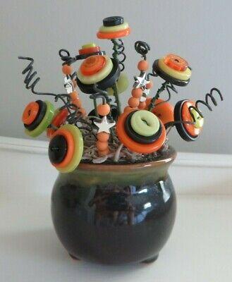 Button Flower Bouquet in Mini Ceramic Planter - Halloween Home Decor (Item #365)