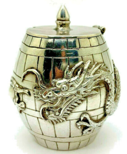 Chinese Export Silver Signed HC Mustard Pot with Dragon