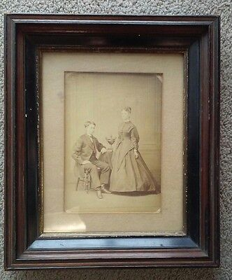Antique Deep Well Victorian Picture Frame 19th C Sepia Photo Portrait Wavy Glass
