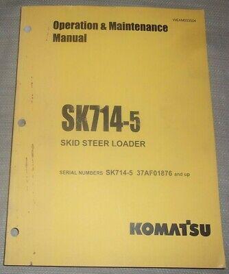 Komatsu Sk714-5 Skid Steer Loader Operation Maintenance Book Manual 37af01876-