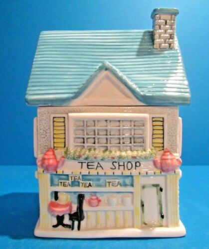NWOB The Tea Shop Cookie Jar 1999 Vintage Collectible Ceramic Sherwood Brands