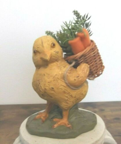 "Primitive Style Easter Chick with Basket of Carrots, 7"" tall, Ragon House NWT"