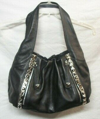 Large Black Leather Purse with Pyramid Stud Accents by B Makowsky