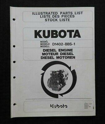 Genuine Kubota D1402-bbs-1 Diesel Engine Parts Manual Catalog Very Good Shape