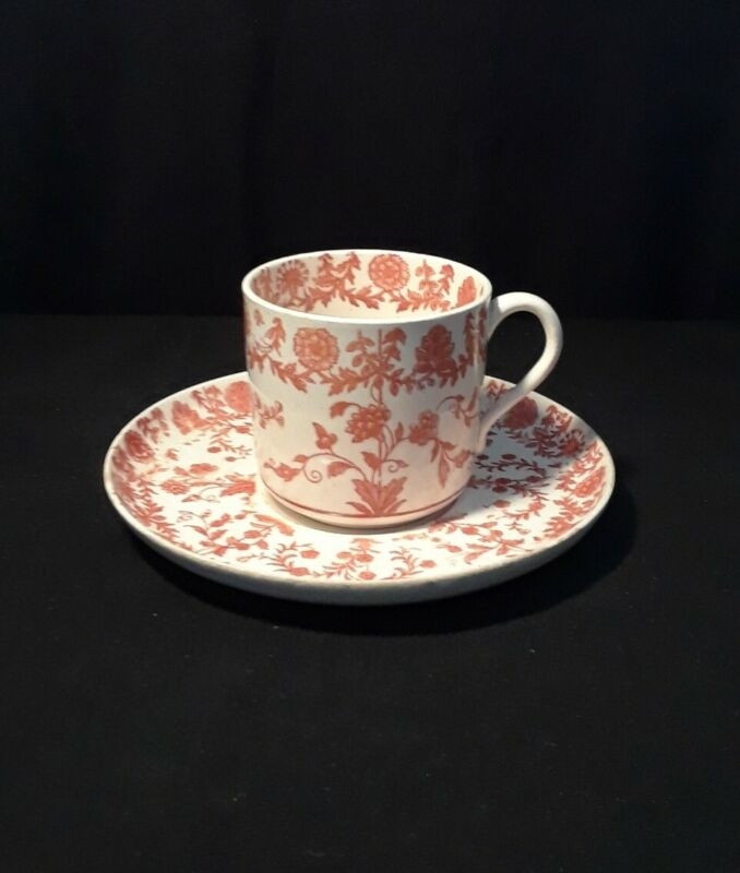 COPELAND 1858 Demitasse Cup & Saucer Red Floral Pattern