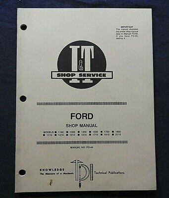 1989 Ford 1110 1210 1310 1510 1710 1910 2110 1700 1900 Tractor I T Shop Manual
