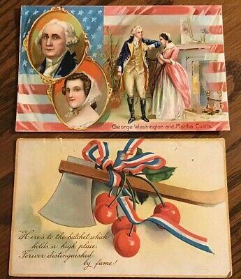 Lot of 4 Antique Postcards Patriotic Greeting George Washington