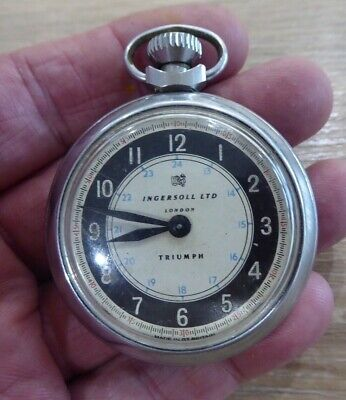 LONDON QUALITY VINTAGE INGERSOLL TRIUMPH GENTS POCKET WATCH // WORKING