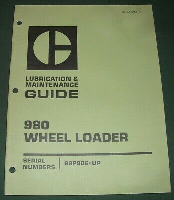 Cat Caterpillar 980 Wheel Loader Lubrication Maintenance Manual Sn 89p00906-up