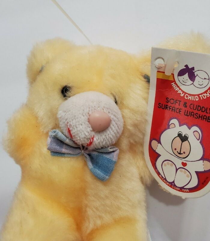 """VINTAGE 1986 HAPPY CHILD TOYS SOFT & CUDDLY TEDDY BEAR 4"""" WITH TAGS MCCRORY CORP"""