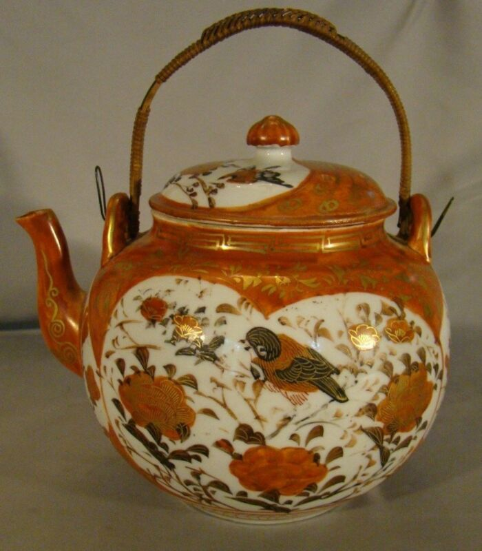 Antique Meiji Kutani Porcelain Teapot mid 19th Century