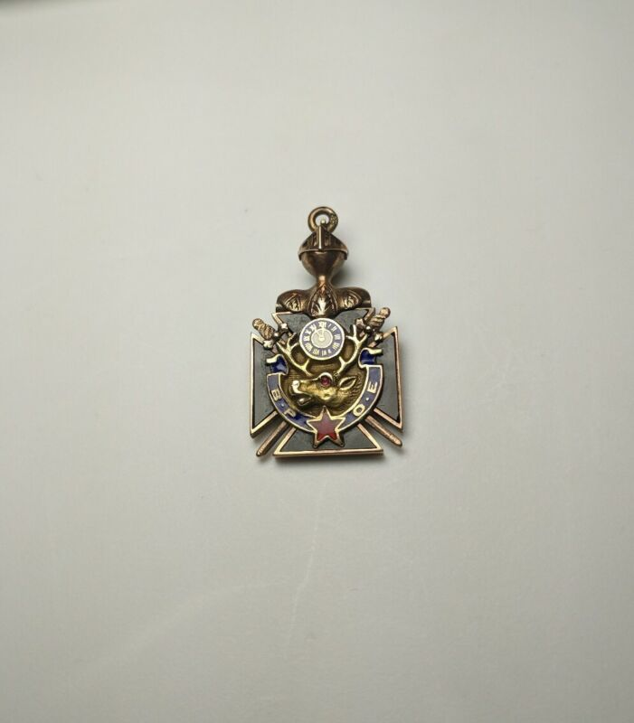 Stunning Vintage 10k Yellow Gold & Enamel Knights Templar & BPOE Elks Watch Fob