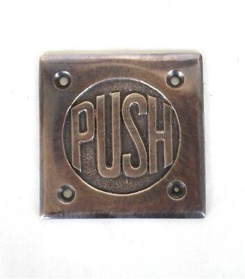 - Small PUSH Door Plate in Dark Oil Rubbed Aged Bronze Finish
