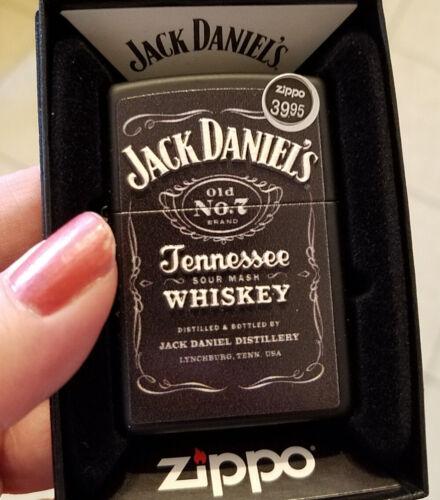 Zippo 49281 Jack Daniels Whiskey Raised Textured Print Black Matte NEW Lighter