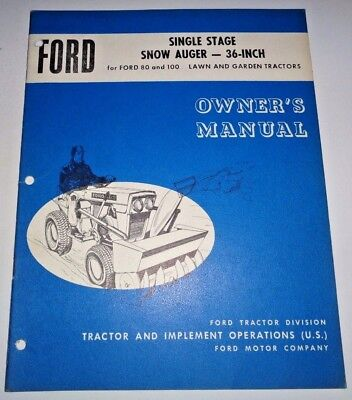 Ford 36 Snow Auger Thrower Operators Parts Manual Fits 80 100 Lawn Tractors