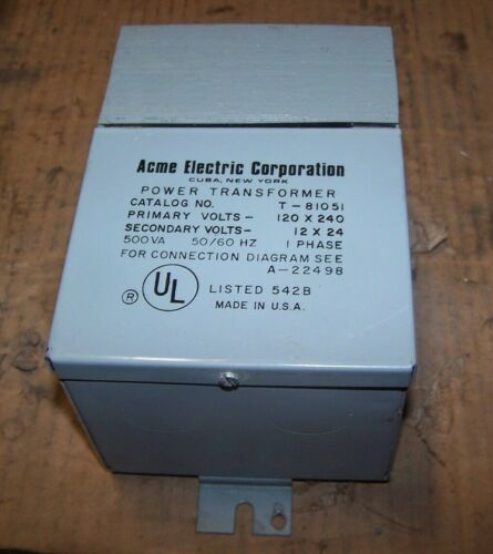 NEW ACME 500 VA POWER TRANSFORMER 120 X 240 HV 12 X 24 LV SINGLE PHASE T-81051