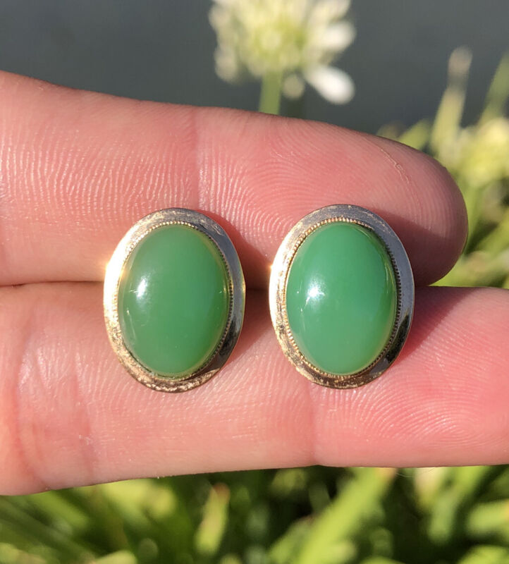 Old Chinese 14K Yellow Gold Cabochon Green Apple Jade Jadeite Post Earrings