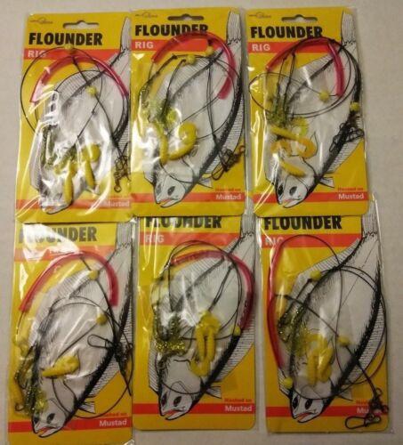 6 FLUKE FLOUNDER 2-HOOK SPREADER rig LEADERS snelled mustad #9 hook CURLY TAILS