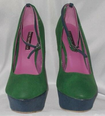 WOMEN'S SHOES SIZE 8 SHOE REPUBLIC LA GREEN BLUE TIGER HEELS Party Christmas   - Green Party Shoes
