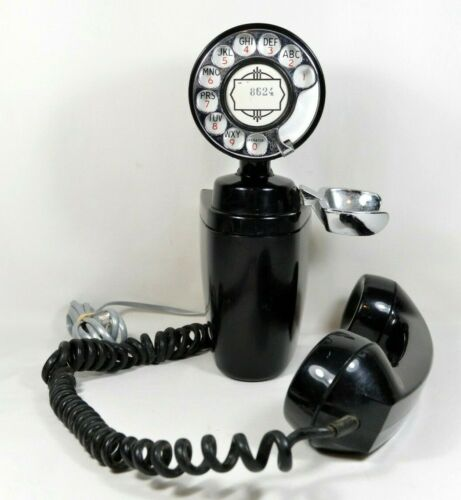 Very Old Antique Wall Hanging Rotary Telephone Black RARE Design!