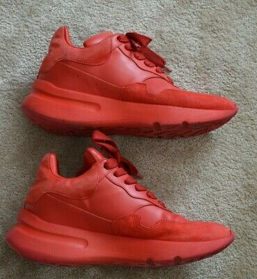 Alexander McQueen MCQ Red Leather Oversized Runners Trainers Sneakers EU37 UK4